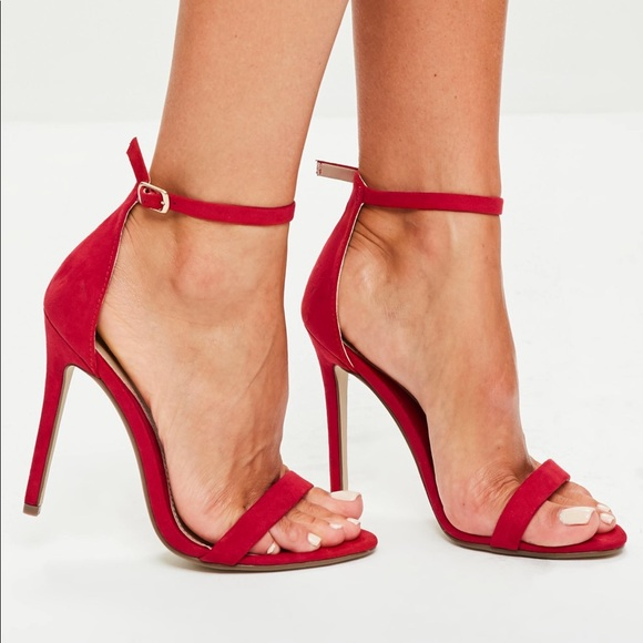 dbd3d9137496 Missguided red two strap barely there heels